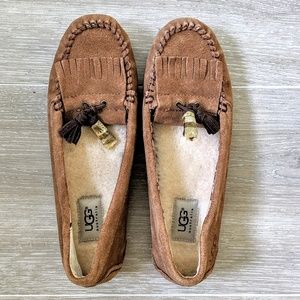 UGG  Brown Chesnut Suede Tassel Moccasin Sz 8 New